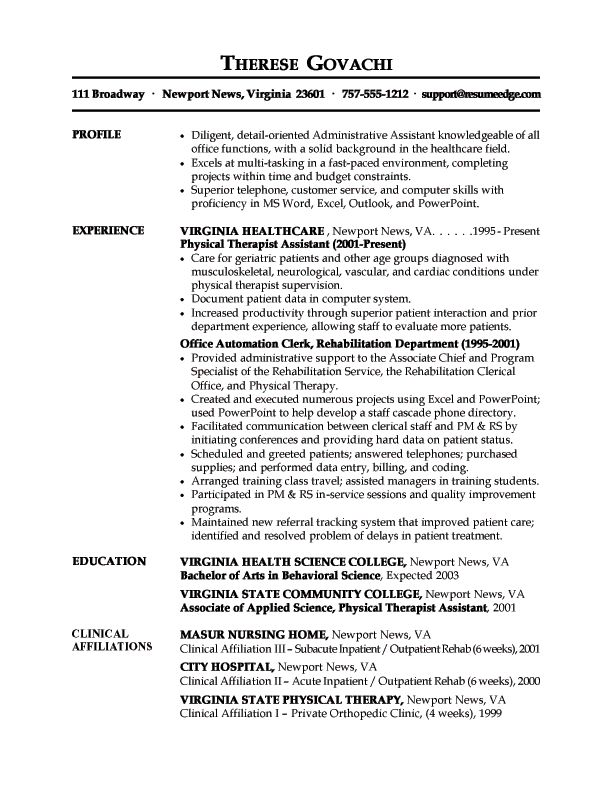 76 best Resume images on Pinterest Resume tips, Resume ideas and - physical therapist resumes