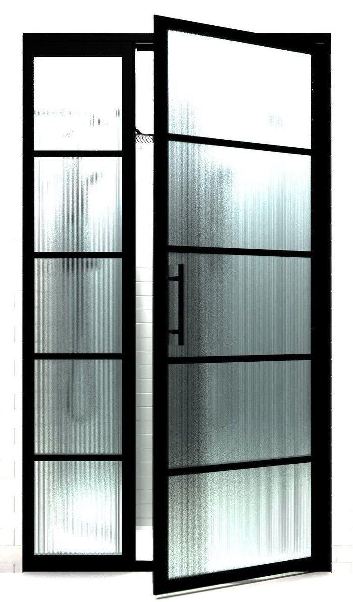 Black Steel Frame Shower Doors With Gs2 Grid Pattern Gridscape