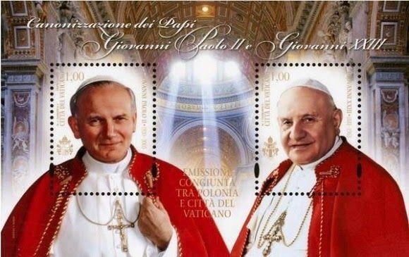Spe Deus: Emissão conjunta de selo comemorativo da canonização de João Paulo II e de João XXIII pelos Serviços Postais do Vaticano e da Polónia