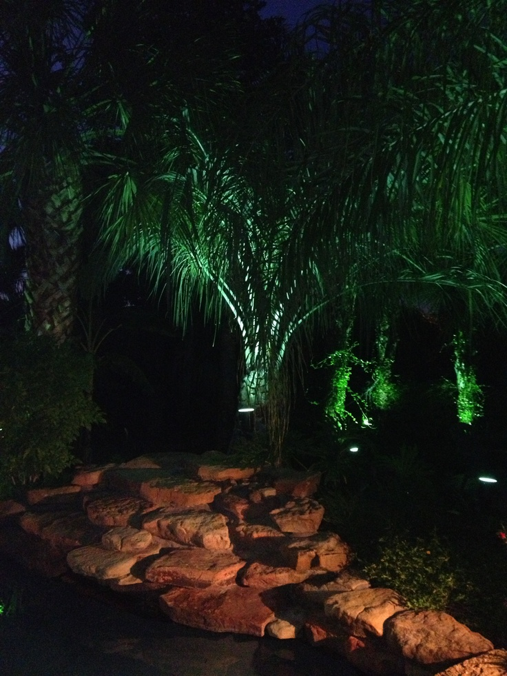 Landscape lighting around this residential swimming pool creates a wonderful nighttime contrast between the Palm trees & 107 best Landscape Lighting images on Pinterest | Backyard ideas ... azcodes.com