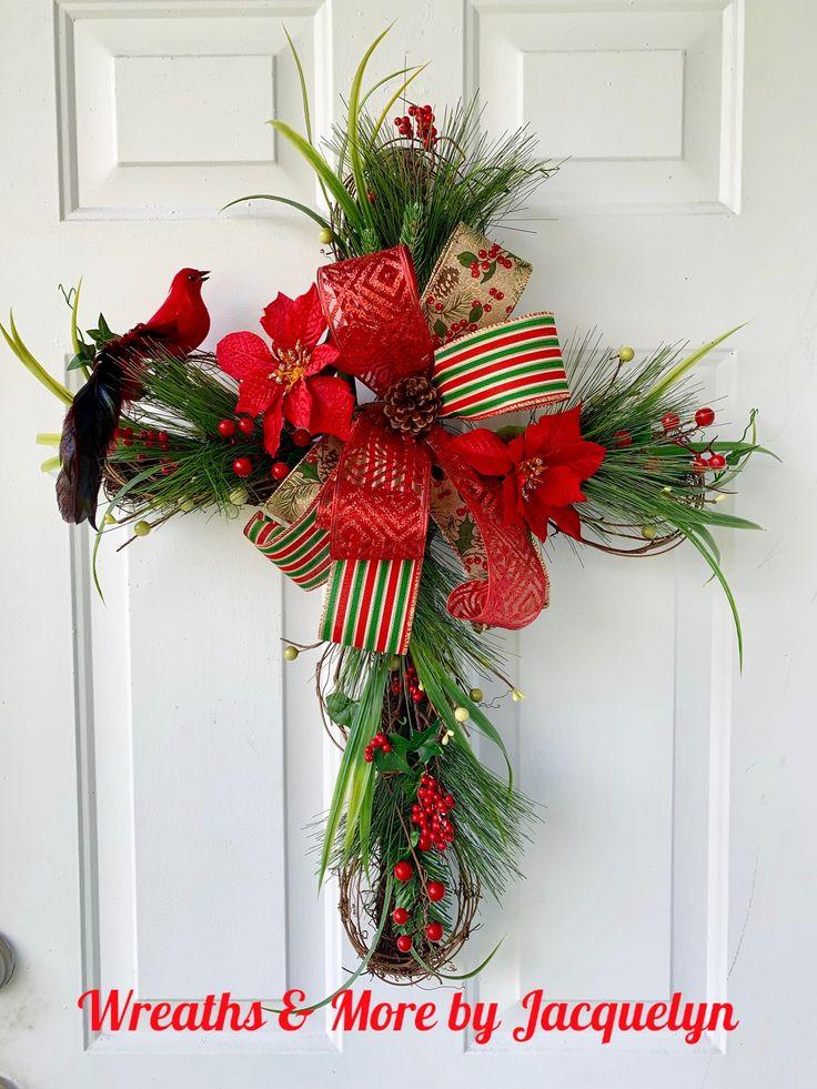 Winter Cross, Wreath, Door Hanger, Wall Decor, home Decor