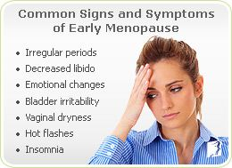 Common Signs or Symptoms of Early Menopause