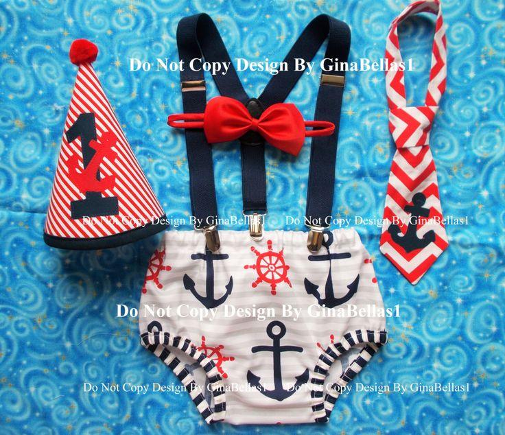 Nautical Birthday cake smash outfit chevron anchor by GinaBellas1