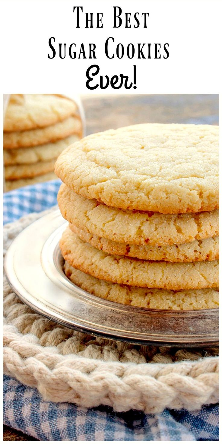 The Best Sugar Cookie Recipe EVER!  This recipe makes BIG, round, soft and chewy sugar cookies, just like bakery style cookies.  via @https://www.pinterest.com/BunnysWarmOven/bunnys-warm-oven/