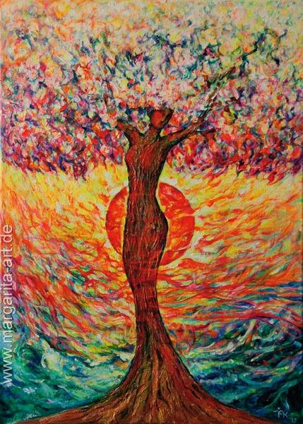Original Acryl-Gemälde auf Leinwand.  - THE TREE OF LIFE / LEBENSBAUM - Power of the elements.    Ein Unikat. Seiten künstlerisch ummalt. Fertig zu...
