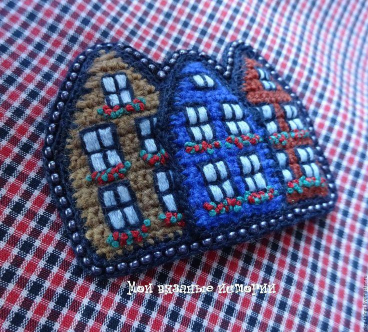 Купить Цветной Городок 3 - разноцветный, crochet jewelry, crochet brooch, brooch, брошь для души