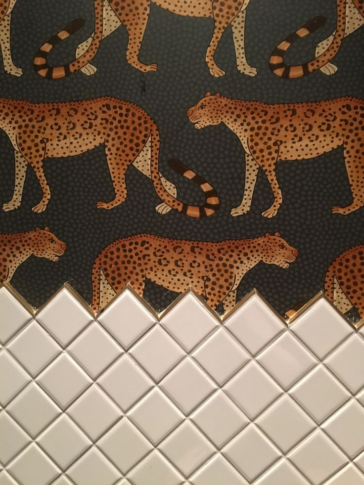 Leopard wallpaper (Cole and Son), Henrietta Hotel Covent Garden, diamond tiles, gold trim