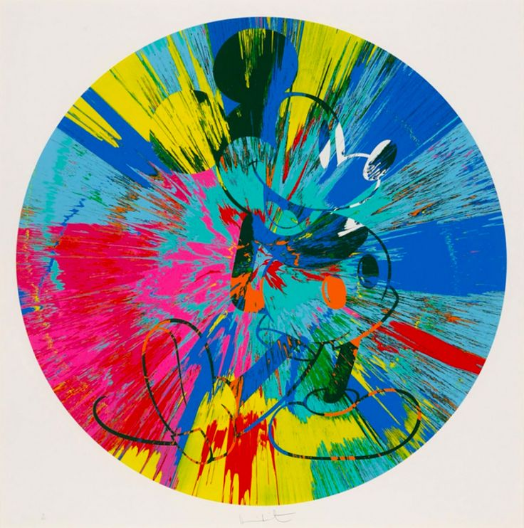 Beautiful Mickey, 2015 by Damien Hirst. Screenprint. 54 x 54 inches. Price on Request. Available on Artnet.