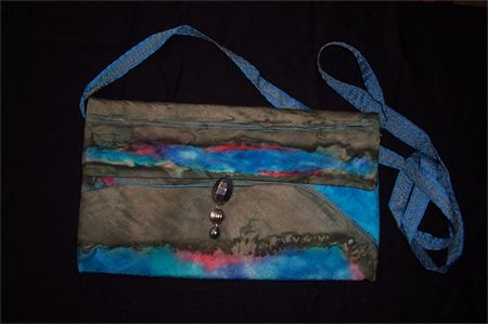 Hand painted silk blue red Clutch purse with strap