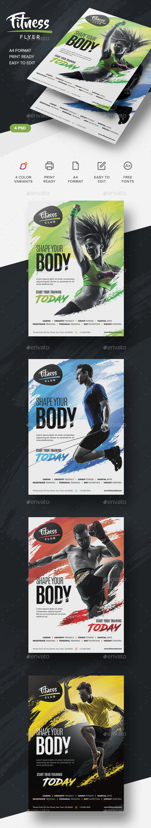Fitness Flyer Design Template - Corporate Flyers Design Template PSD. Download here: https://graphicriver.net/item/fitness-flyer/19358828?ref=yinkira