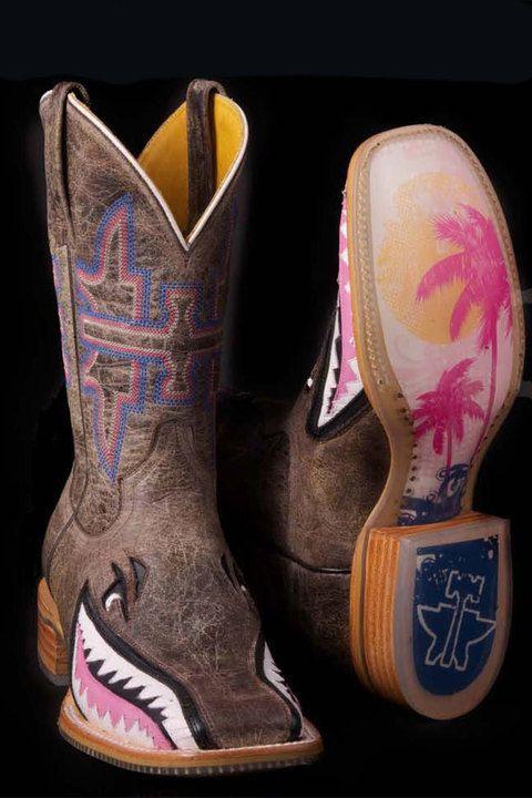 Tin Haul Boots Women's Pink Man Eater Shark Cowgirl Boots