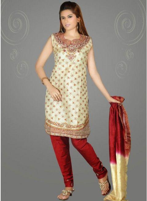 Classy Cream Silk Embellished #Salwar_Kameez