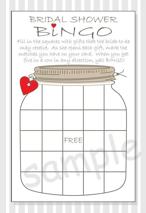 DIY Bridal Shower Bingo Printable Cards - Rustic Mason Jar Design - red, purple or pastel pink hearts
