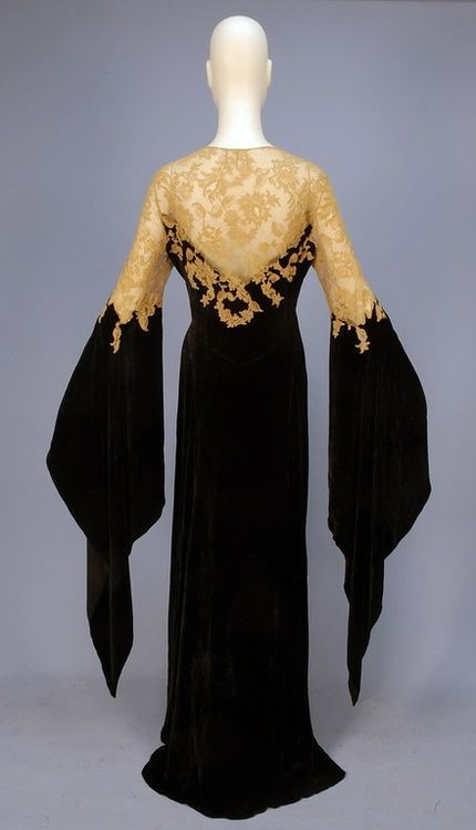 This is a 1930s deshabille (French for undressed) silk panne velvet and Alecon lace