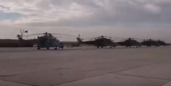 الأحد 21 فبراير 2016 03:19 صباحا إعلام النظام : إستعدادا لمعارك تطهير ريف حمص .. الجيش ينشر طائرات Mi-35M و Mi-24P و Mi-17 في مطارالشعيرات ( فيديو )