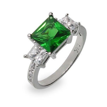 Sterling Silver Emerald CZ Three Stone Ring Eve's Addiction. $34.00. TCW: 2.83 carats. Approximate Weight: 4.1 grams. Metal Finish: sterling-silver-rhodium-finished