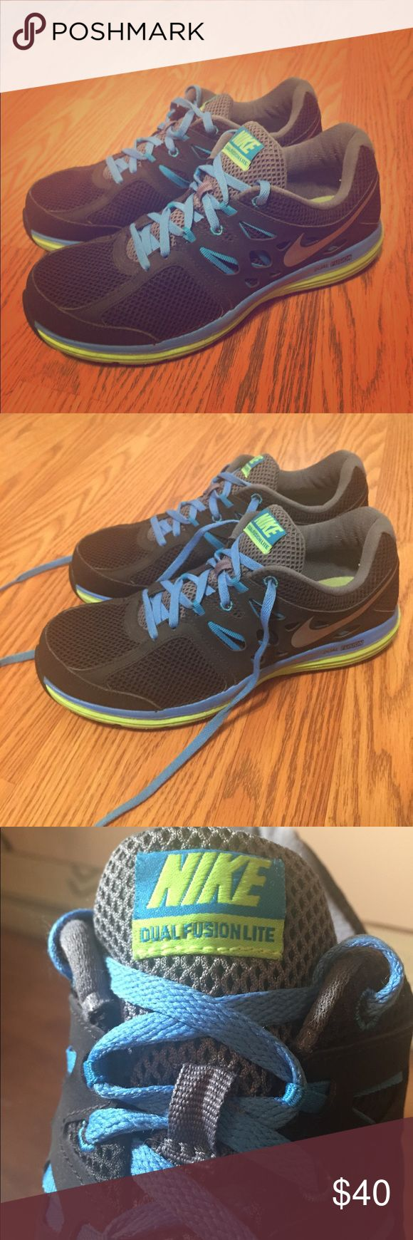 Nike Dual Fusion Lites Black, blue, and light green Nike Dual Fusion Lites. Worn only a couple of times. 9/10 Condition. Great shoes for running in my opinion. Very lightweight and comfortable. Open to offers and bundles. Nike Shoes Athletic Shoes