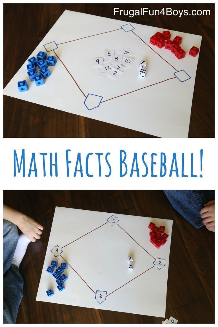 Math Facts Baseball -Great game for all 4 operations!  Really engaging center to set up for math time.  Manipulatives and visuals make it perfect for students with special learning needs.  Get all the directions at:  http://frugalfun4boys.com/2015/11/10/math-facts-baseball-game/