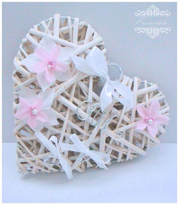Alliances, porte alliance de mariage rose pale et blanc est une création orginale de emmalola-creation sur DaWanda