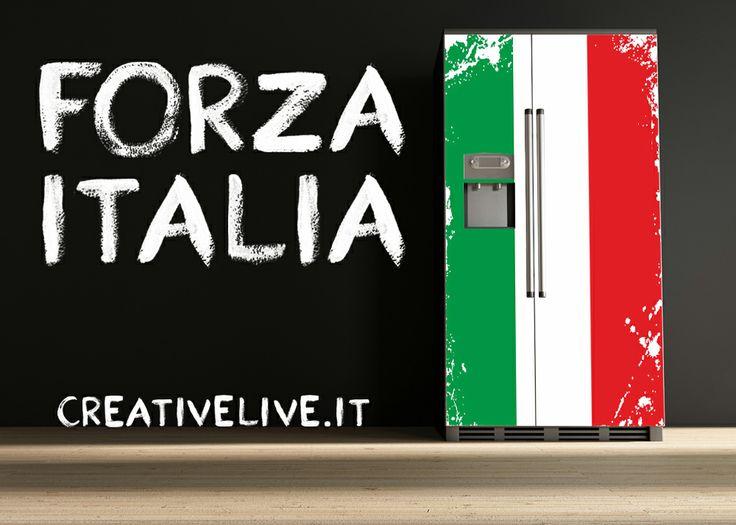 Rivestimento frigorifero con adesivo stampato in digitale ad alta definizione con laminazione protettiva. FORZA ITALIA