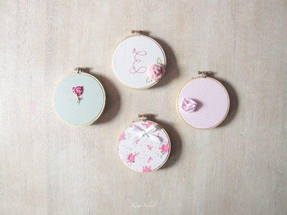Ricamo Hoop arte Shabby Chic Set di quattro arte Nursery personalizzato