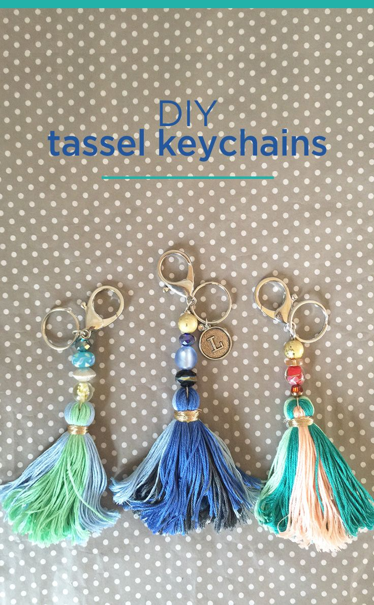 DIY Tassel Keychains - great step by step tutorial showing how to make personalized tassel keychains out of embroidery floss, beads, initial charms, hemp cord, and metallic thread. Great idea for embellishing a purse or tote! Sweet craft idea for Mother's Day, too!