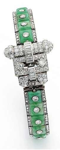 A DELICATE ART DECO JADE PLATINUM AND DIAMOND BRACELET, LACLOCHE BY  THE TOP SECTION OF THE STRAP CAN BE WORN AS A BROOCH LACLOCHE bracelet in white gold and platinum formed an articulated flexible tape three bands, he formed the center square cabochons green jade inlaid each half cut diamond, the other two that frame of rose-cut diamonds, on the clasp, lapel clip can adapt triangular half-cylinder decor and set with projections brilliant-cut diamonds and baguette. Signed Lacloche Fres
