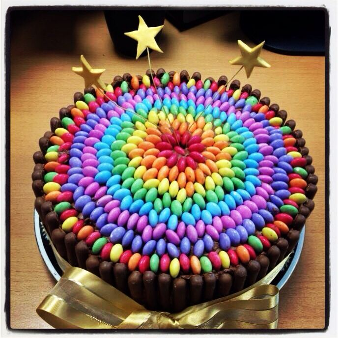 Cake Decorating Ideas With Smarties : Smartie chocolate cake! Simple but effective! Brilliant ...