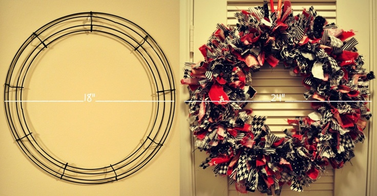 DIY: rag wreath  I making a half and half for football season FL and UGA