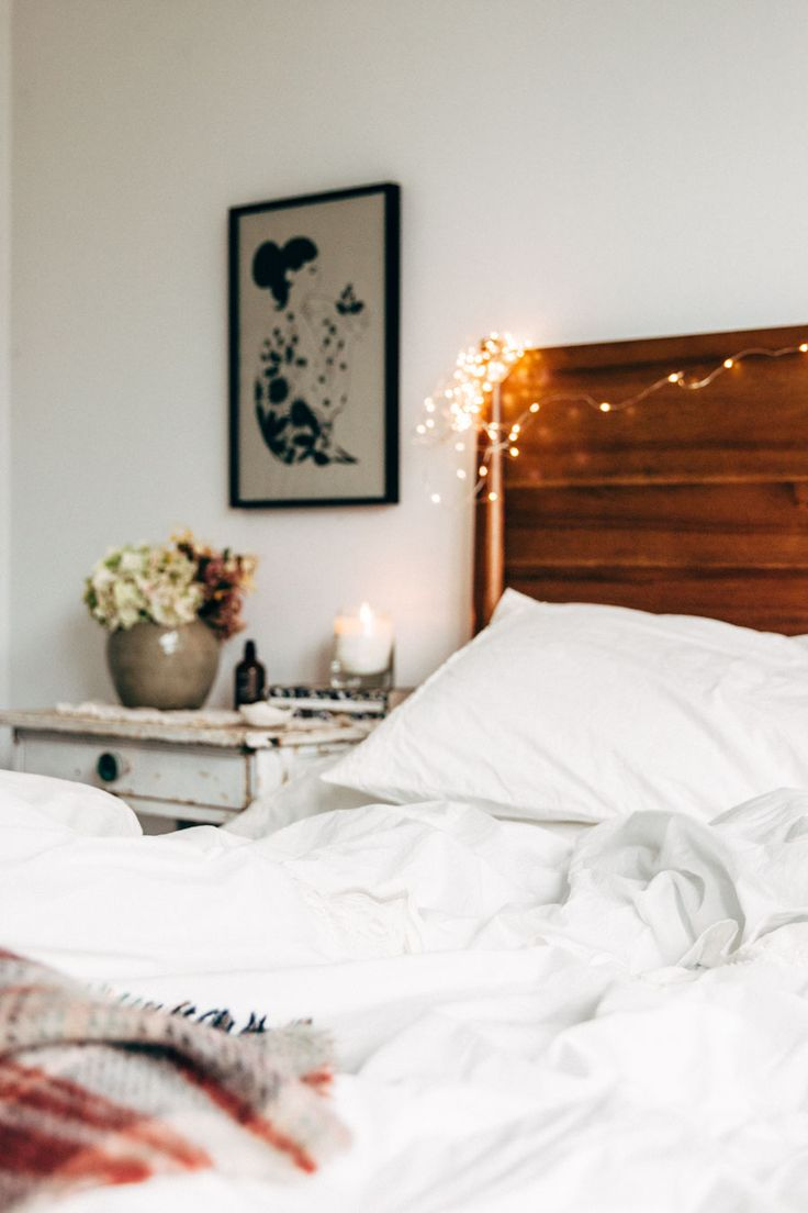 Cosy bedroom fairy lights - Rustic Side Table