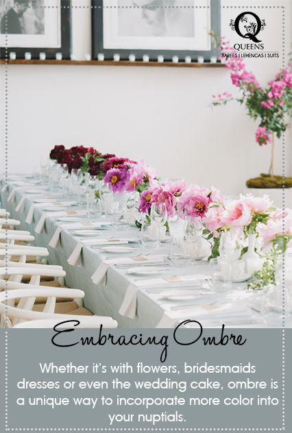 Ombre is a unique way to incorporate more color into your wedding set up. ‪#‎QueensEmporium‬ ‪#‎WeddingTrends‬