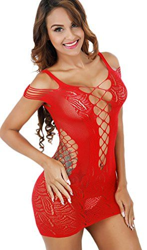 Freemale Women Sexy Mesh Lingerie Fishnet Babydoll Mini Dress Free Size Bodysuit