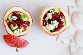 Apples stuffed with pomegranets, gargonzola cheese, avocado, apple chunks