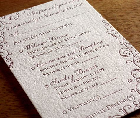 Your response card should gather all of the information you need from your guests to finalize your wedding plans. Make sure you know how many guests are attending each event, any dietary restrictions, and of course, ensure they reply in enough time to make all of the magic happen.