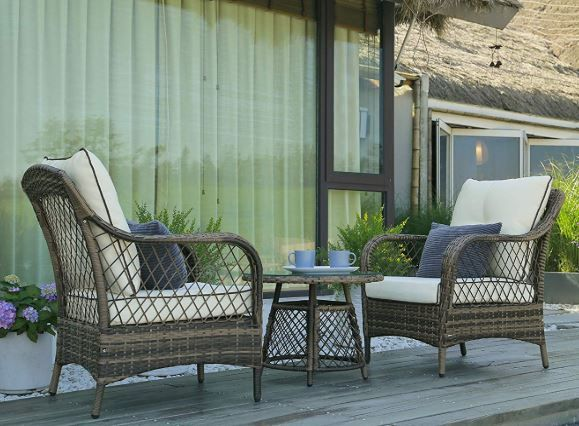 Outdoor Wicker Chairs, Peaktop 3 Piece Wicker Patio Set With Cushions