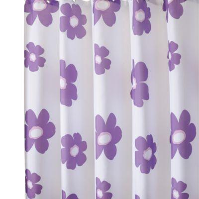 InterDesign® Purple Poppy 72 Inch X 96 Inch Fabric Shower Curtain    BedBathandBeyond
