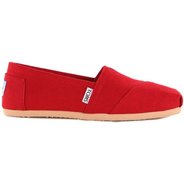 Toms Classic Canvas Espadrilles ($29) ❤ liked on Polyvore featuring shoes, sandals, flats, toms, red, toms sandals, canvas slip on shoes, red canvas shoes, toms espadrilles and espadrille sandals