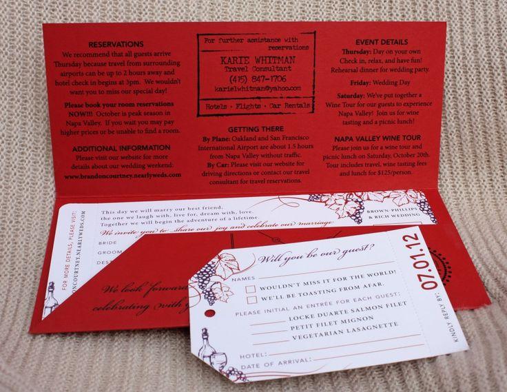 25+ parasta ideaa Pinterestissä Grape wedding stationery - airline ticket invitation