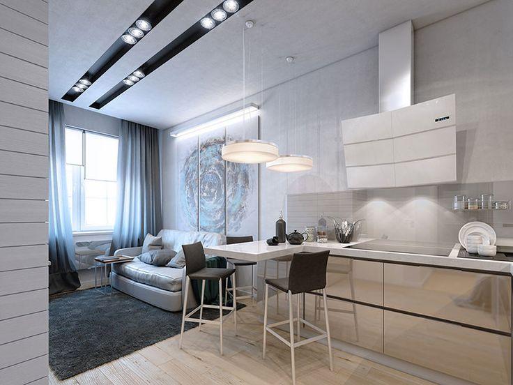 apartamento pequeno de 35 m2, em formato quadrado super bem aproveitado com sala moderna que integra cozinha.