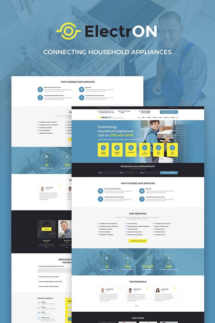 ElectrON - Maintenance Services Company WordPress Theme Big Screenshot