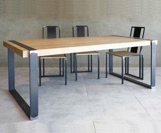 Table design bois metal