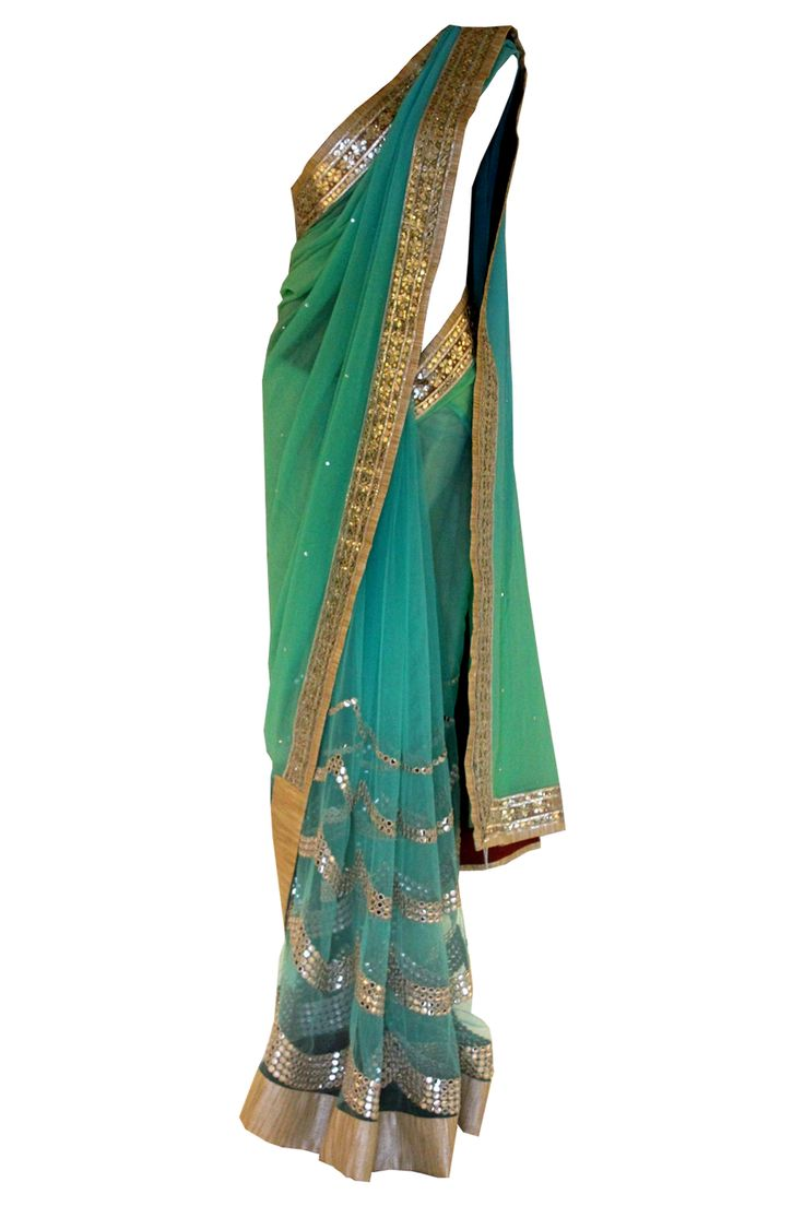 Pret i by priti sahni sea green mirror work saree for Mirror work saree