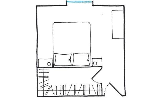 Progetto cabina armadio: dietro il letto a spazi condivisi