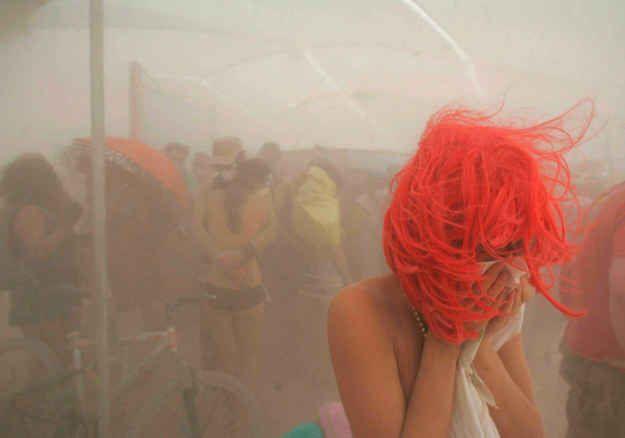 During a sandstorm