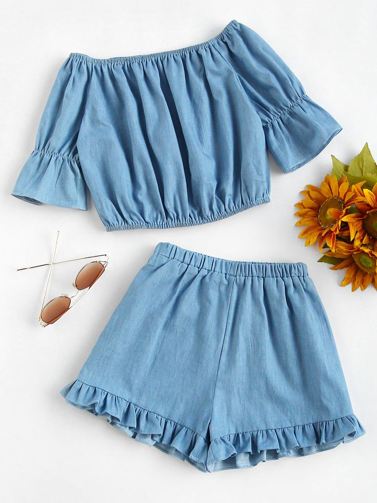 ¡Cómpralo ya!. Bardot Crop Top With Frill Hem Shorts. Shorts Blue Polyester Plain Off the Shoulder Half Sleeve Ruffle Cute Sexy Vacation Fabric has no stretch Summer Two-piece Outfits. , topcorto, croptops, croptop, croptops, croptop, topcrop, topscrops, cropped, topbailarina, corto, camisolacorta, crop, croppedt-shirt, kurzestop, topcorto, topcourt, topcorto, cortos. Top corto de mujer de SheIn.