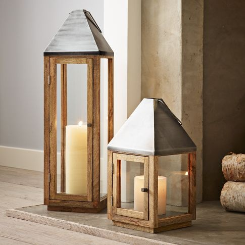 For in front of the fireplace: Wood + Metal Lanterns | west elm