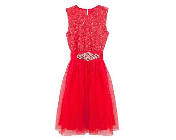 Robe Ceremonie 14 Ans Robe De Fete Pour Fille Ado De 14 Ou 16 Ans Couleur Rouge Avec Dentelle Paillettes Tulle Et Ceint Summer Dresses Formal Dresses Dresses
