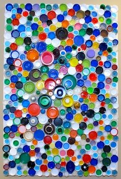 What Can You Make From A Plastic Lid?Bottlecap, Wall Art, Bottle Caps, Cap Mosaics, Plastic Bottles, Bottle Cap Art, Earth Day, Art Projects, Crafts