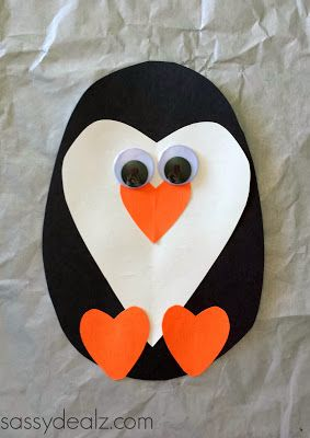 paper heart penguin craft for kids valentines- hair bows for girls, neck ties for boys