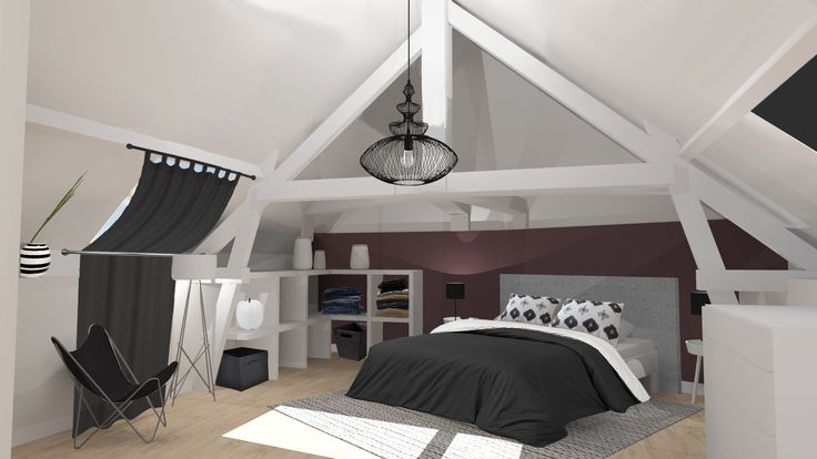 Suite parentale sous les combles cr ation 3d for Amenagement garage en suite parentale